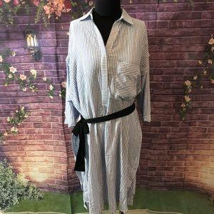 Zara Basic Blue White Striped Oversized Dress